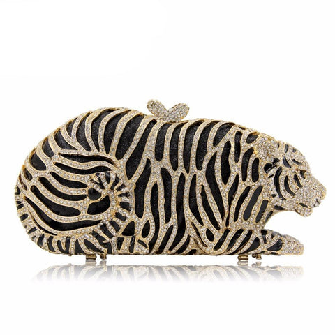 Women Crystal Tiger Clutch