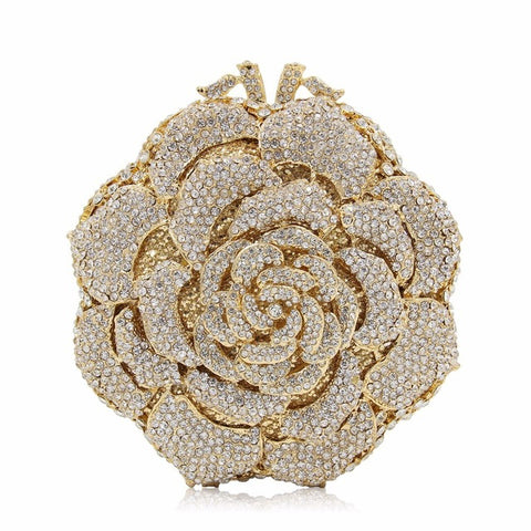 Women Evening Rose Crystal Clutch