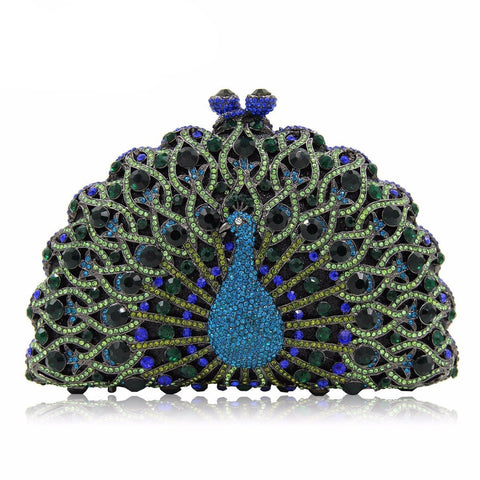 Ladies Peacock Crystal Clutch