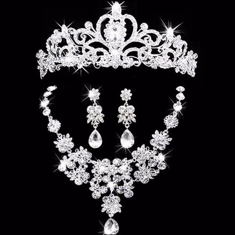 Platinum Tiara Rhinestone Wedding Jewelry Set