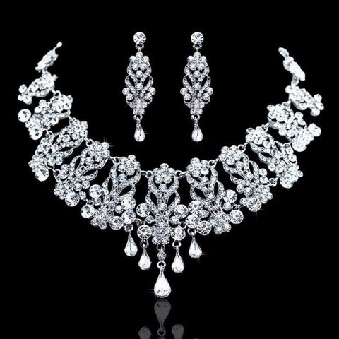 Teardrop Crystal Necklace Earrings Jewelry Set
