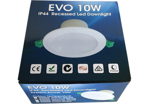EVO 10W Recessed Dimmable LED Downlight Luminaire available in  6000k Cool White 90mm ceiling cut out