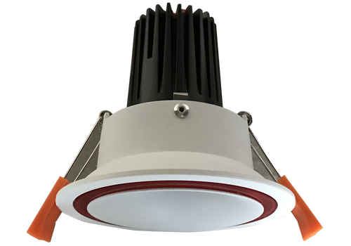 Sienna Black 12W Recessed Dimmable LED Downlight with a Satin White Deep Set Cone with a Transparent Black  Ring and Faceted  Reflector 90mm ceiling cut out