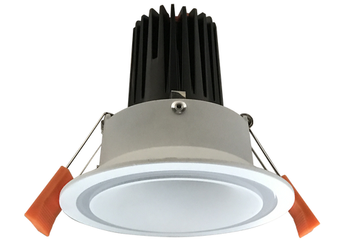 Sienna  Clear 12W Recessed Dimmable LED Downlight  with a Satin White Deep Set Cone with a Transparent Clear Ring and Faceted  Reflector, 90mm ceiling cut out