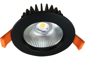 Silhouette 12w Satin Black Recessed LED Downlight Luminaire with a Facetted Silver Mirror Reflector 90mm Ceiling Cutout