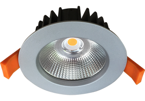 Silhouette 12w Satin Silver Recessed LED Downlight Luminaire with a Facetted Silver Mirror Reflector 90mm Ceiling Cutout