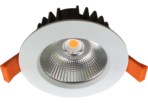 Silhouette 12w  Satin White  Recessed LED Downlight Luminaire with a Facetted Silver Mirror Reflector  90mm Ceiling Cutout