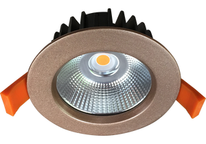 Silhouette 12w Rose Gold  Recessed LED Downlight Luminaire with a Facetted  Silver Mirror Reflector  90mm Ceiling Cutout