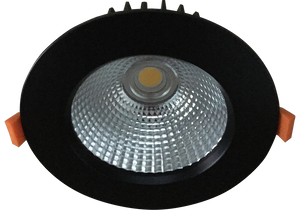 Torrez 21w Satin Black Recessed LED Downlight Luminaire with a Facetted Silver Mirror Reflector, 125mm Ceiling Cutout
