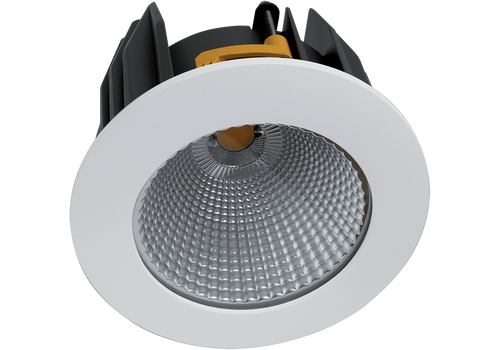 Ultima 26W  Satin White Recessed LED Downlight Luminaire with a Faceted Silver Mirror Reflector 127mm Ceiling Cutout