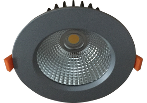 Torrez 21w Satin Silver Recessed LED Downlight Luminaire with a Facetted Silver Mirror Reflector 125mm Ceiling Cutout