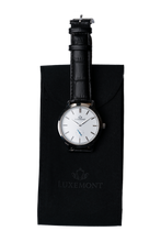 Luxemont watch travel pouch with maestro silver white watch display