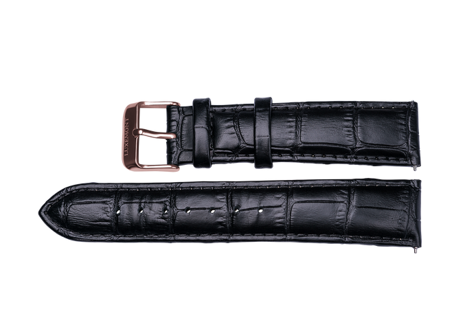 black leather crocodile strap rose gold buckle for luxemont maestro watch