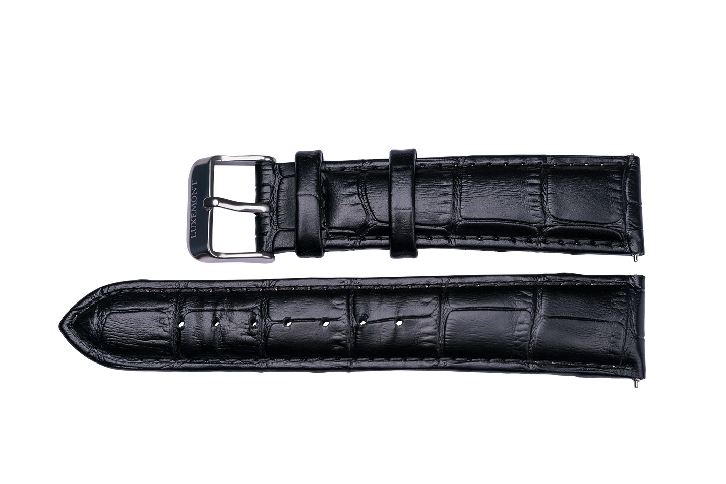 black leather crocodile strap silver buckle for luxemont maestro watch