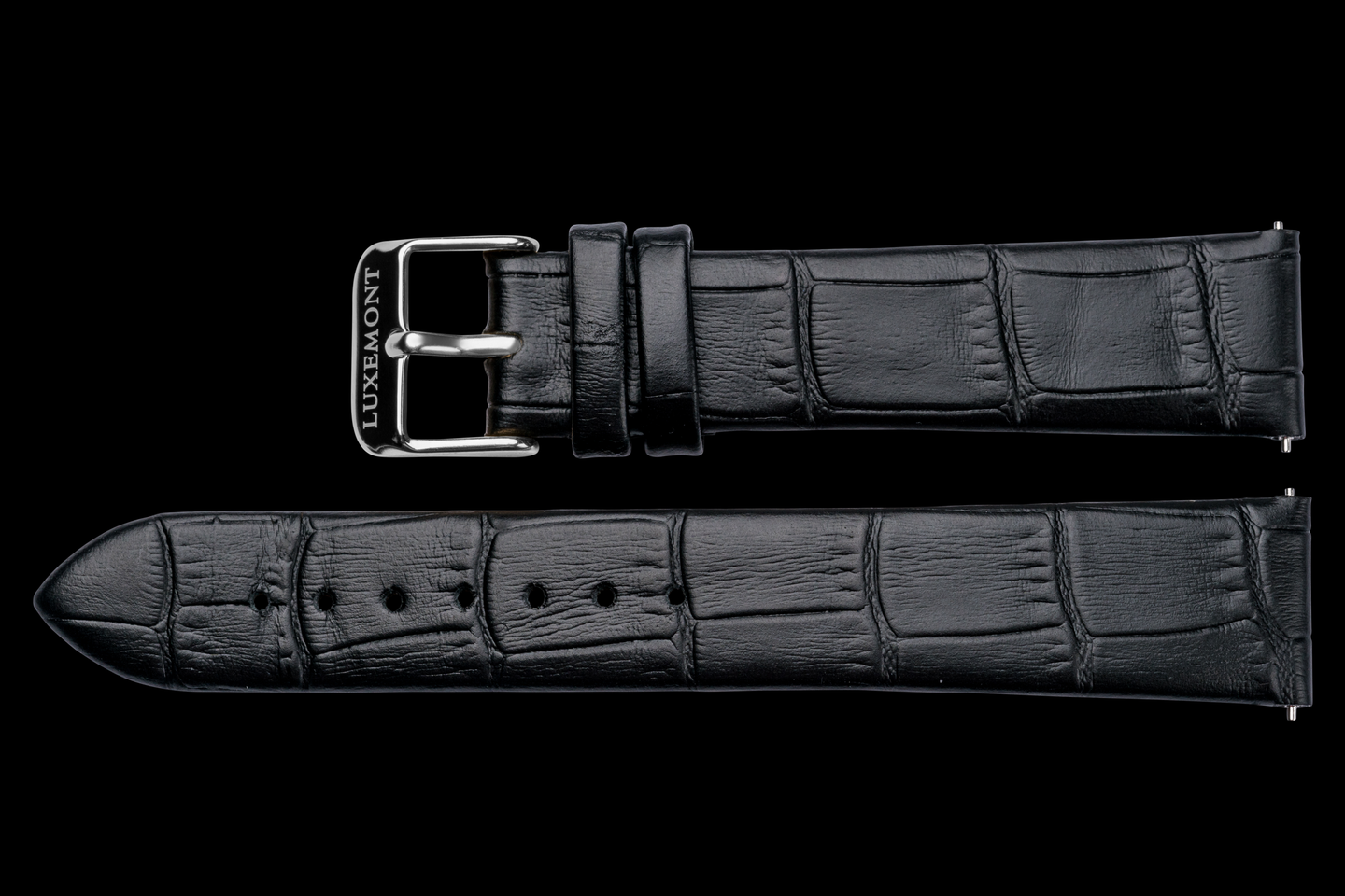 lady maestro black leather crocodile strap silver buckle