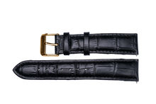 black leather crocodile strap yellow gold buckle for luxemont maestro watch