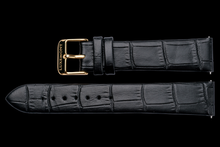 lady maestro black leather crocodile strap yellow gold buckle