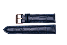 midnight blue leather crocodile strap rose gold buckle for luxemont maestro watch