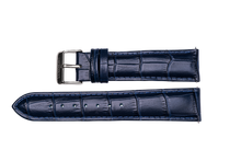 midnight blue leather crocodile strap silver buckle for luxemont maestro watch