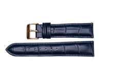 midnight blue leather crocodile strap yellow gold buckle for luxemont maestro watch