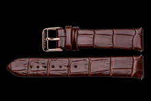 lady maestro brown leather crocodile strap rose gold buckle