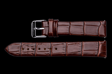 lady maestro brown leather crocodile strap silver buckle