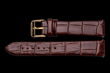 lady maestro brown leather crocodile strap yellow gold buckle