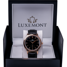 luxemont maestro rose gold black dial box view