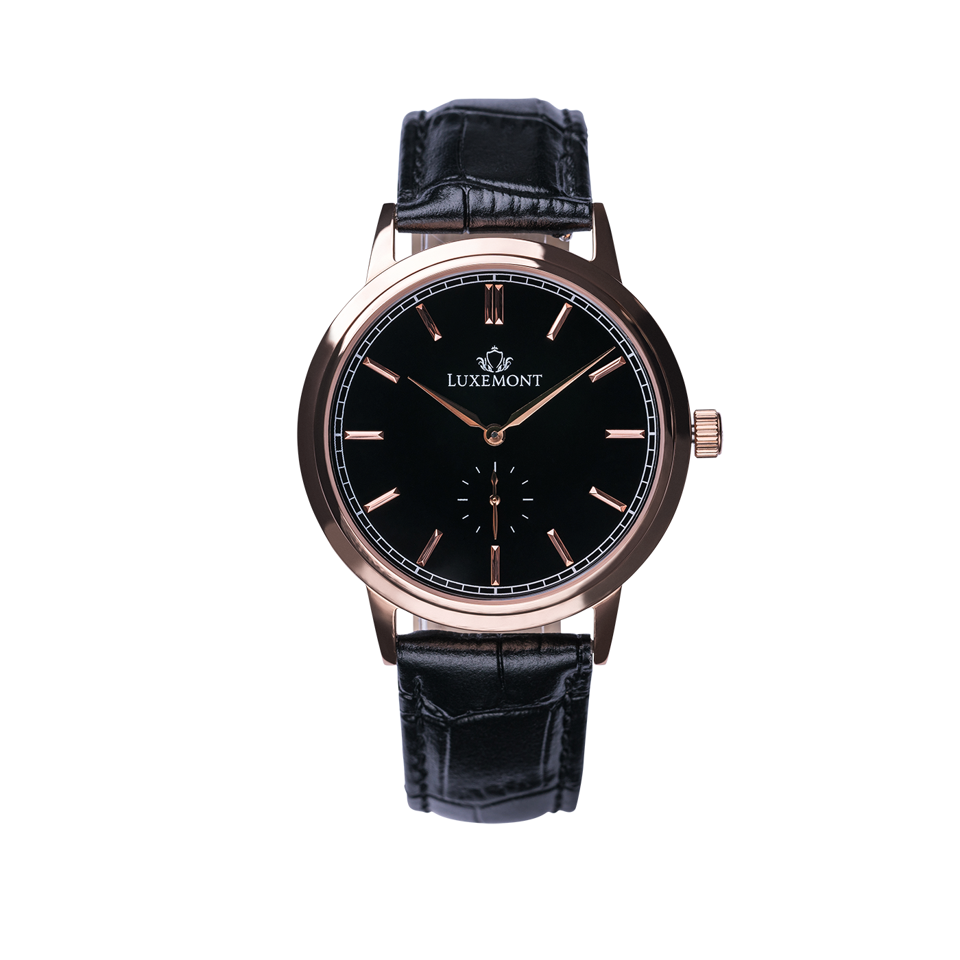 luxemont maestro rose gold black dial front view
