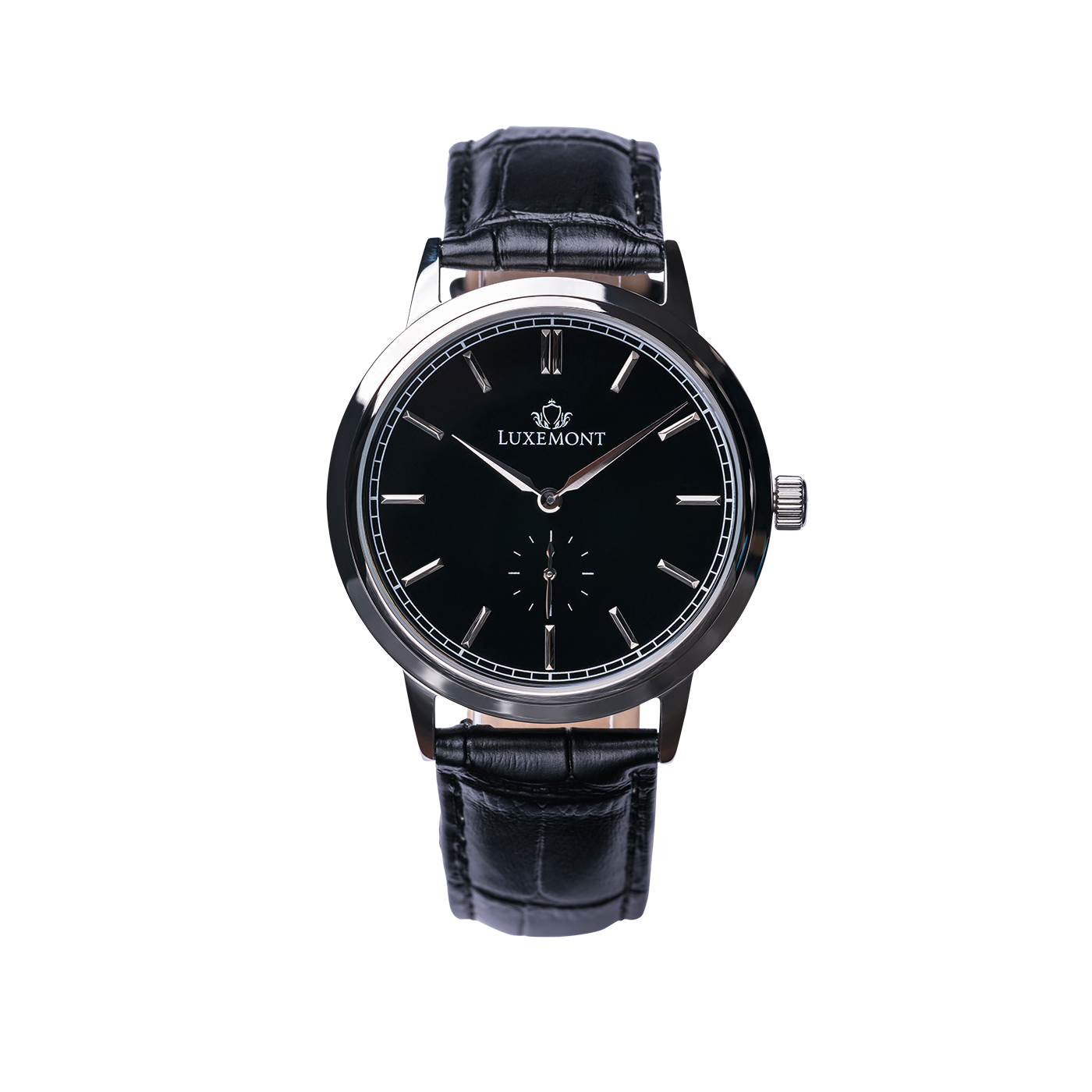 luxemont maestro silver black dial front view