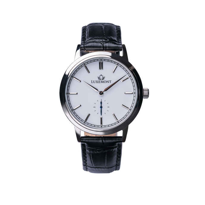 luxemont maestro silver white dial front view