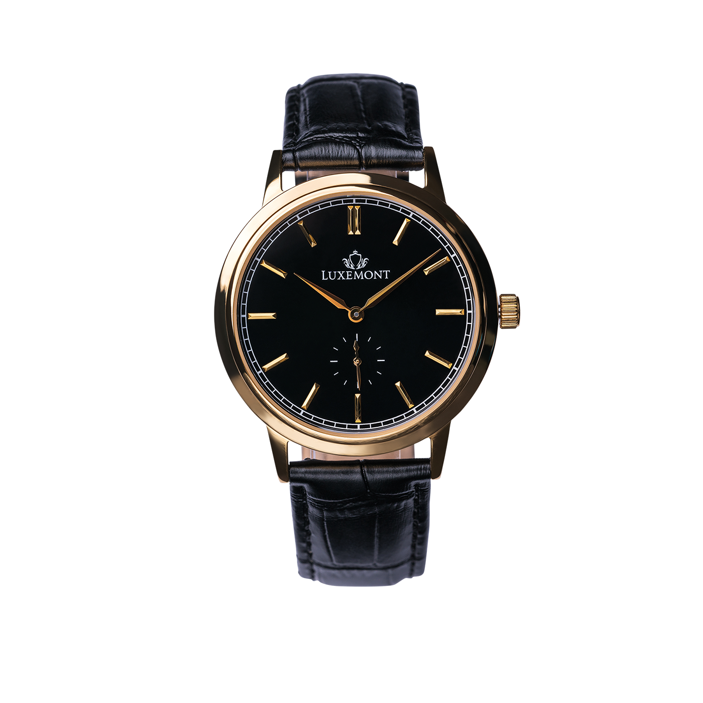 luxemont maestro yellow gold black dial front view