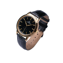 luxemont maestro yellow gold black dial side view