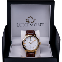 luxemont maestro yellow gold white dial box view