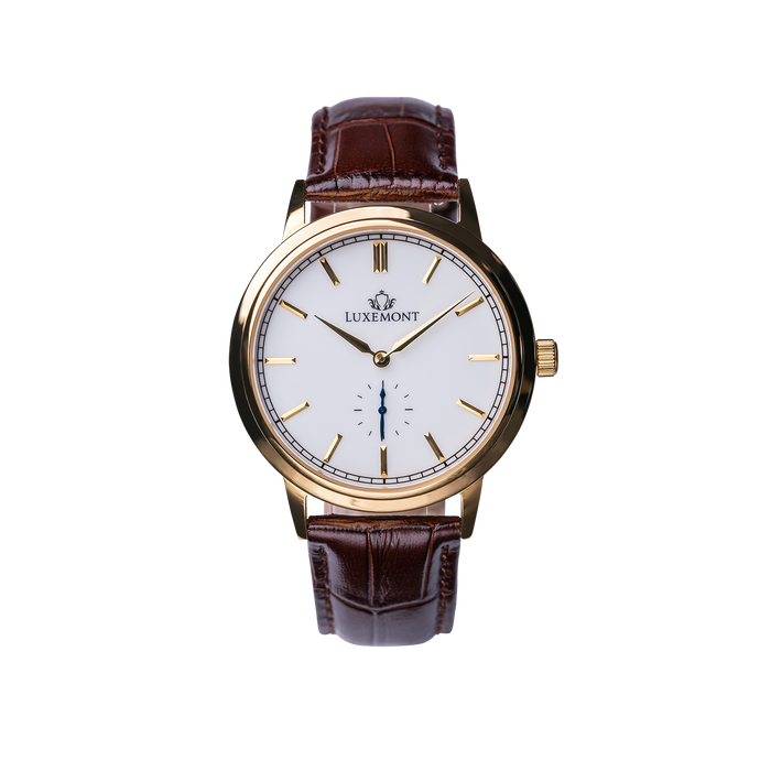 luxemont maestro yellow gold white dial front view