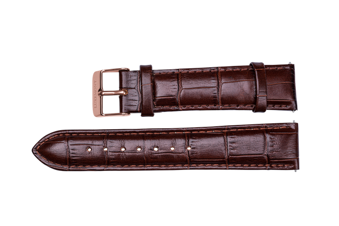 brown leather crocodile strap rose gold buckle for luxemont maestro watch