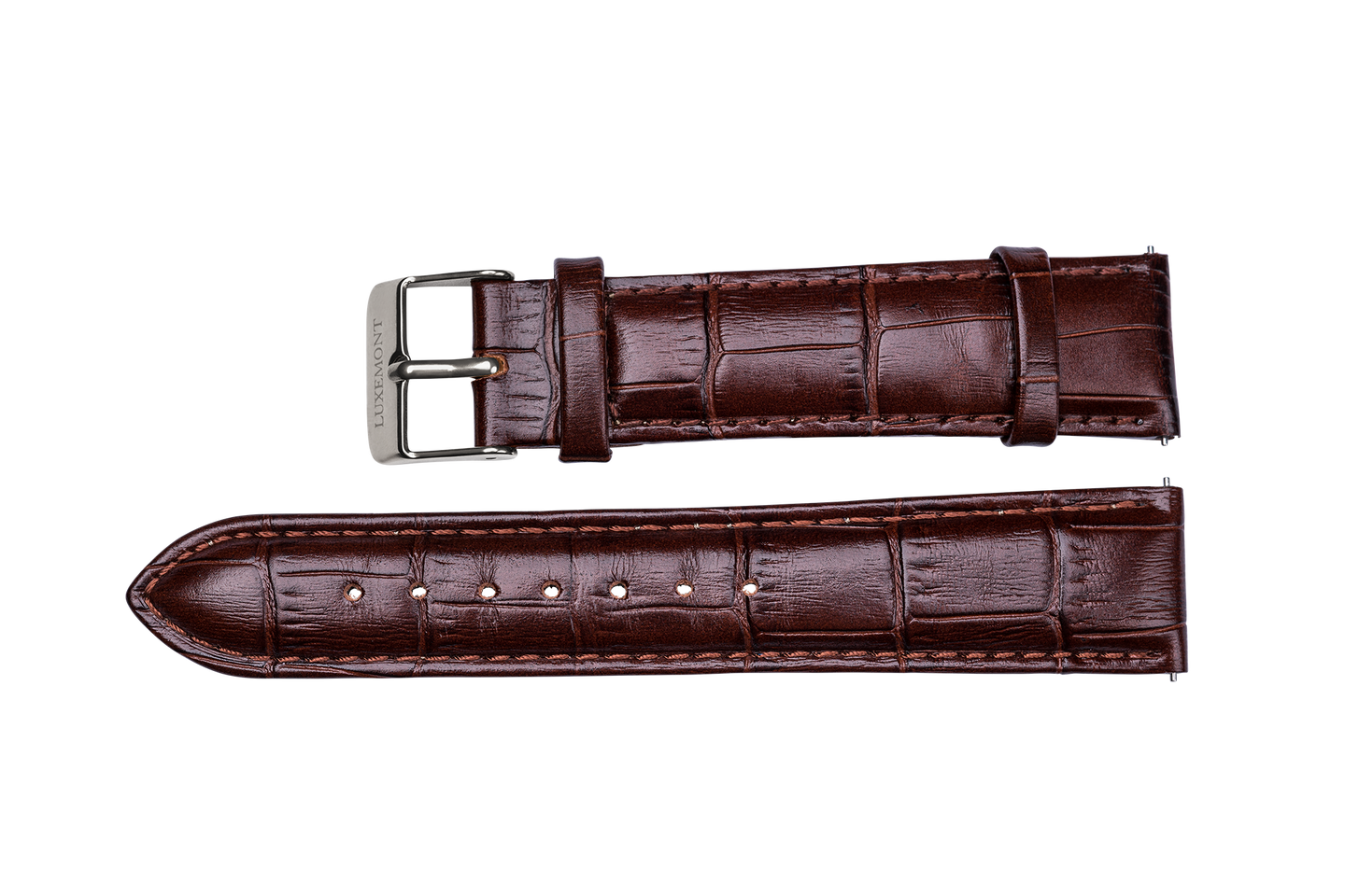 brown leather crocodile strap silver buckle for luxemont maestro watch