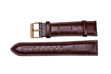brown leather crocodile strap yellow gold buckle for luxemont maestro watch