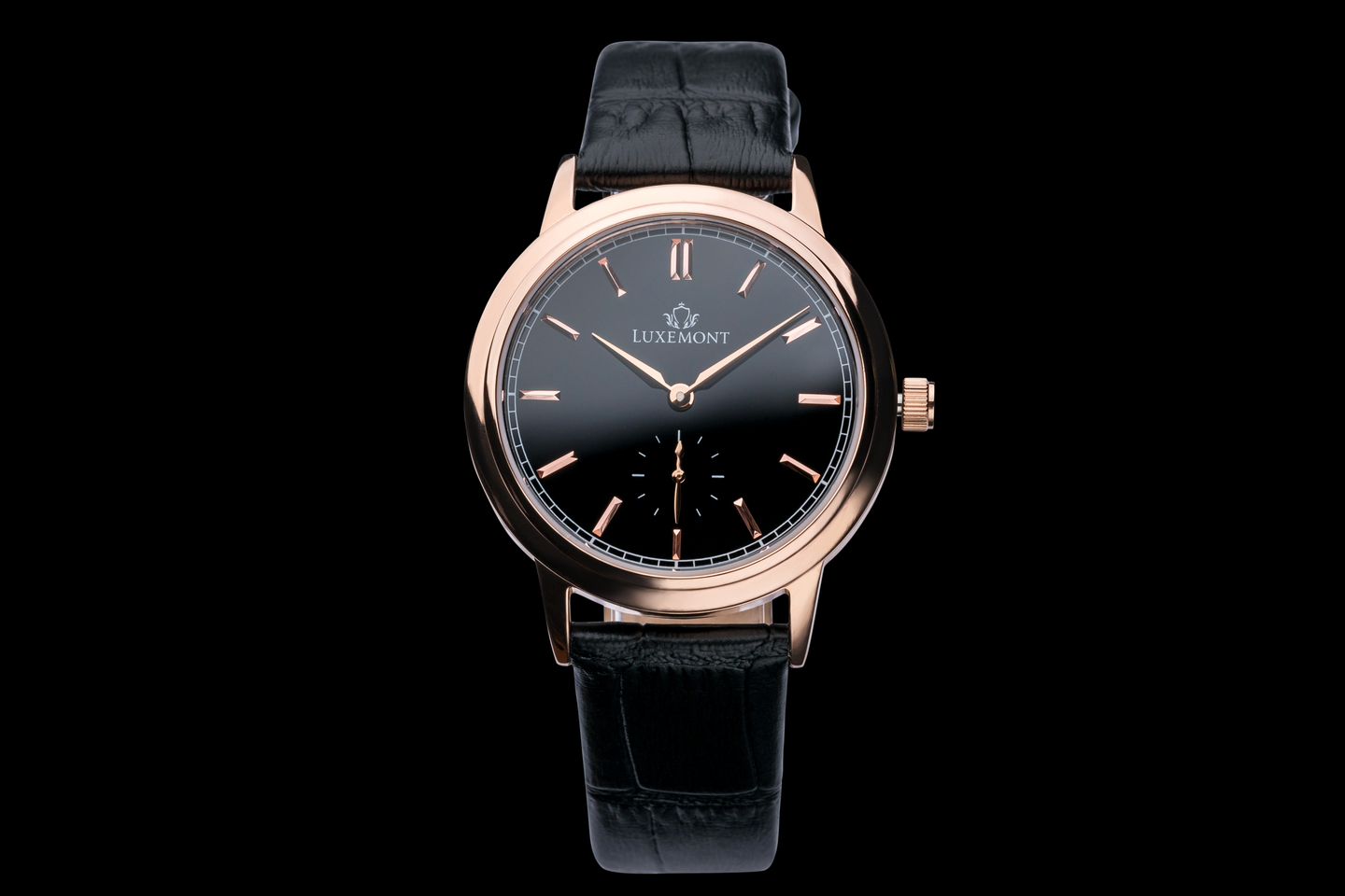 luxemont lady maestro rose gold black dial front view