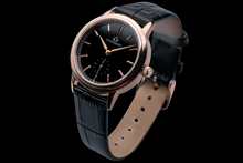 luxemont lady maestro rose gold black dial side view