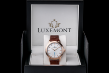luxemont lady maestro rose gold white dial box view
