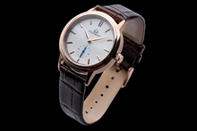 luxemont lady maestro rose gold white dial side view