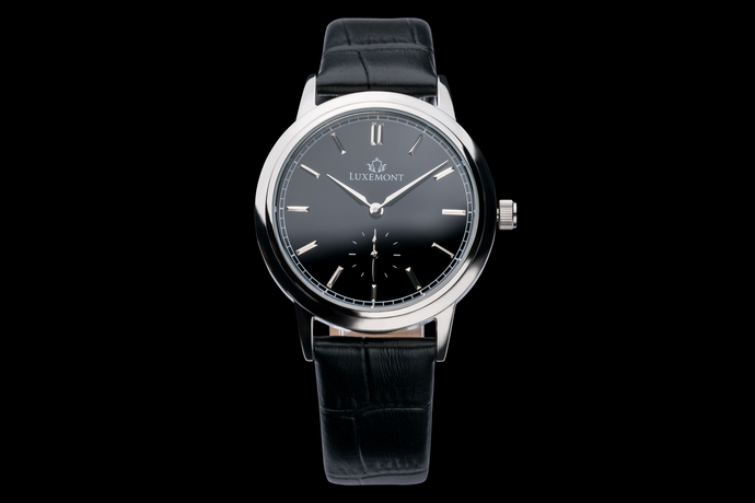 luxemont lady maestro silver black dial front view