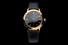 luxemont lady maestro yellow gold black dial front view
