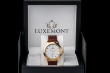luxemont lady maestro yellow gold white dial box view
