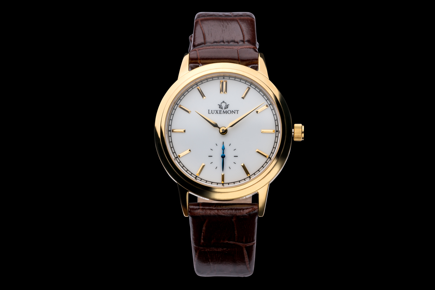 luxemont lady maestro yellow gold white dial front view