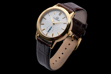 luxemont lady maestro yellow gold white dial side view