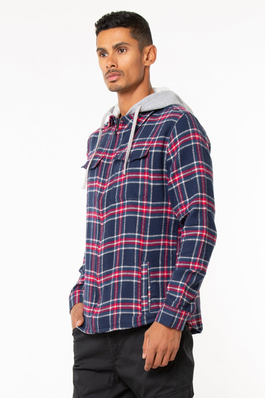 Zip Front Flannel Shirt Jack With Fleece Hood & Side Pockets