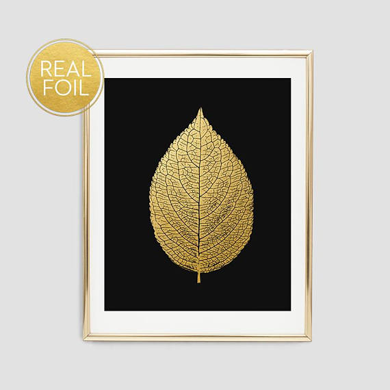 Gold Foil Leaf Art Print // Real Gold Foil F14
