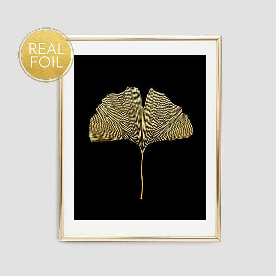 Gold Ginkgo Leaf Art Print // Real Gold Foil F12